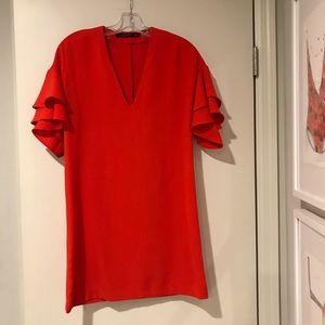 EUC Zara Shirt Dress with Flutter Sleeves